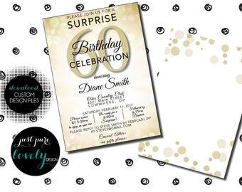 Elegant Gold Surprise 60th Birthday Party Invitation | Printable