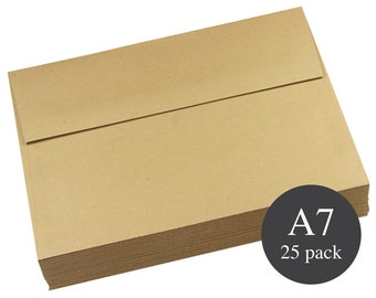25 - A7 Kraft Square Flap Envelopes - 5 1/4 x 7 1/4 - Grocer Kraft