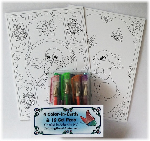 """GIFT SET  of 4 NOTECARDS to Color: Includes Gel Pens & 5"""" x 7"""" Cards with Envelopes - 2 each of 2 designs - Rabbit x2 and Happy Bird x2"""