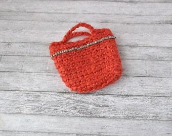 Handmade crochet red bag for Barbie dolls