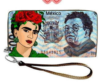 Frida Kahlo purse wallet pop art, Purse with Frida, Wallet Frida, Diego peso banknote, Purse Frida, Frida peso banknote,Mexican currency