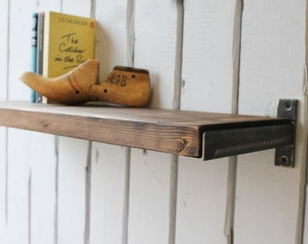 Industrial Wood And Steel Shelf