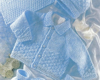 pdf Babies Jacket,Hat,Mittens,Bootees and Blanket Knitting Pattern 0 to 2 years.