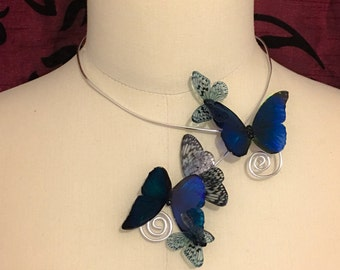 """Deformable translucent """"stained glass lepidopteran"""" Butterfly Necklace"""