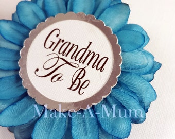 Teal Wrist or Pin, Baby Shower corsage, baby shower favors, Grandma To be Pin, mommy to be pin ,baby shower decorations ,TEAL/PAPER GTB