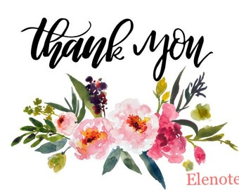 Printable Floral Watercolor 5x7 Thank You Card