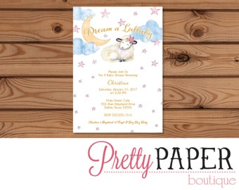 Lullaby Baby Shower Invitation - Digital or Printed