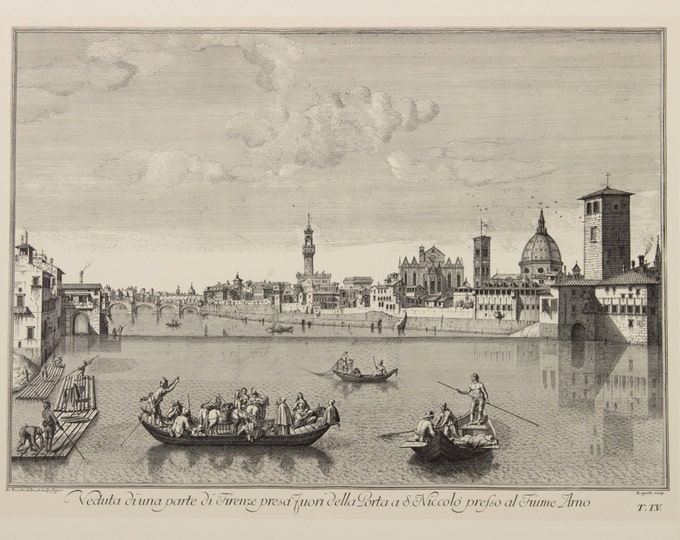 "Engraving ""Florence, a view of the Arno from the Porta San Niccolò"" by Giuseppe Zocchi, 19 century"