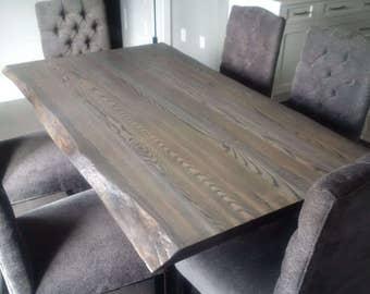 Live Edge Grey Ash Dining Table, Live Edge Table, Live Edge Furniture