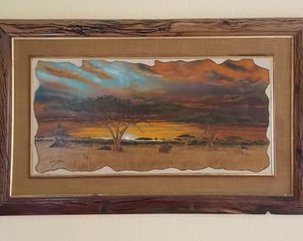 African Bush Oil Painting signed by Val Odendaal