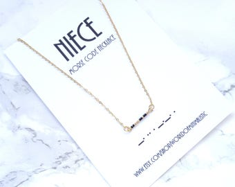 NIECE morse code necklace, minimalist dainty necklace, gold beaded bar necklace, morse code jewelry, niece gift, simple everyday gift