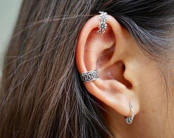Masai Silver Ear Hoops, 10mm Oxidized Silver Hoop, Gift For Friends, Body Jewelry, Bohemian Hoops, Minimal Earrings, Casual Hoops, (E49)