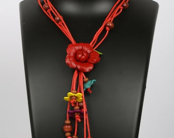 Leather Flower Necklace , women gifts, leather gifts,