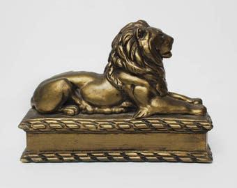 Vintage Plaster Lion Bookend