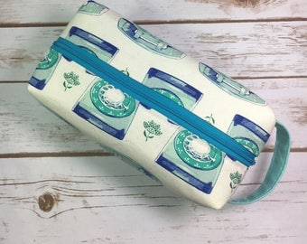 Box pouch, boxy bag, cosmetic bag, makeup bag, rotary phones, telephone fabric, retro fabric, gift for mom, gifts under 30, traveller gift