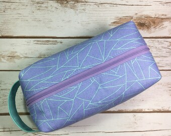 Box pouch, boxy bag, blue and purple fabric, geometric fabric, cosmetic bag, makeup bag, travel bag, bridesmaid gift, gift for mom