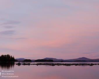 Sunset on Millinocket Lake, ME (unframed matted print)
