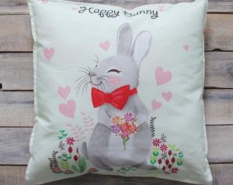 READY TO SHIP! Happy Bunny pillow