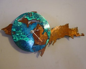 Michigan Metal Art Clock - UP