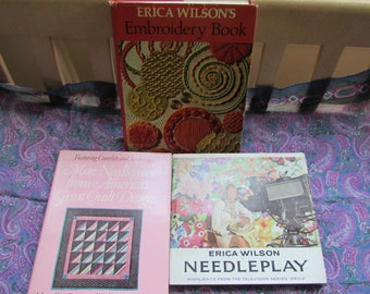 Needlepoint Books 3 Erica Wilson Vintage Books Quilting Embroidery Sewing Crewel Crafting Samplers Patterns Designs Bargello Applique