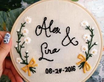 Custom Wedding Embroidery Hoop
