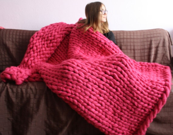 Chunky Knit Blanket Chunky Knit Throw Merino Wool Blanket