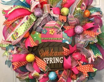 Easter Deco Mesh Wreath, Easter Wreath, Deco Mesh Wreath