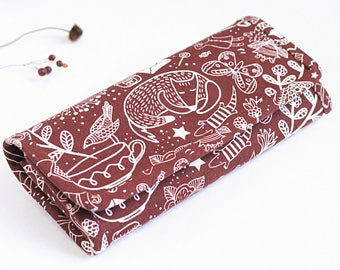 Fox wallet women's wallet long wallet pattern wallet vegan wallet  colorful wallet brown wallet women wallet cute print gift for her