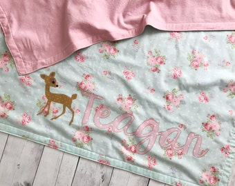 Shabby chic baby blanket with fawn