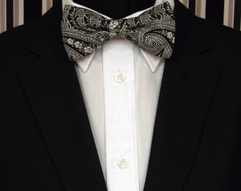 Black Bow Tie, Black Bowtie, Mens Bow Tie, Mens Bowtie, Paisley, Black Paisley, Wedding, Prom, Bride, Father, Day, Dad, Birthday, Gift
