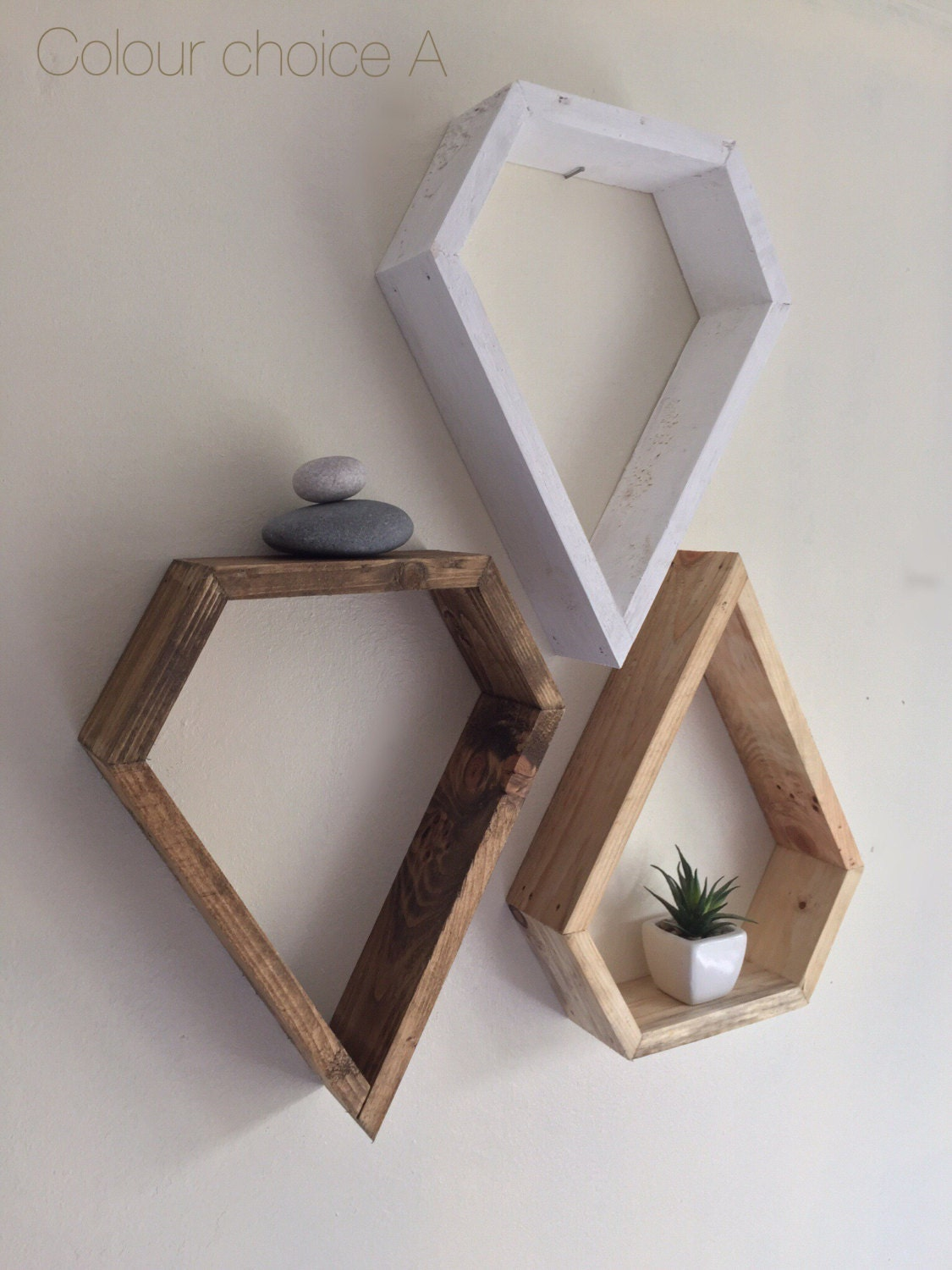 Modern Shelving Geometric Custom Shelving 3 Shelves Rustic