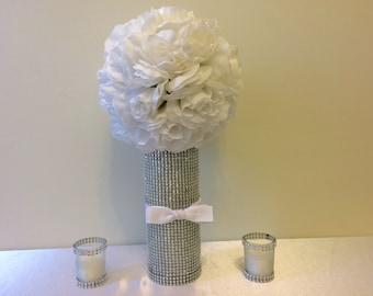 Centerpiece Set, Bling Centerpiece Gift, Rhinestone Votive Candle Holder Set, Rhinestone Vase Set, Bling Wedding, Kissing Ball, Sweet 16