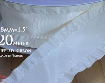 """C80048-38mm(1.5"""") Ivory-White Ruffled Ribbon 20 Meter Reel. (125g)"""