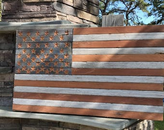 American Flag Made from Reclaimed Cedar Wood With Hand Carved Stars