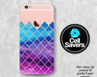 Quatrefoil Pattern iPhone 7 iPhone 6s iPhone 6 iPhone 6 Plus iPhone 6s + iPhone 5c iPhone 5 SE Clear Case Purple Pink Watercolor Pattern New
