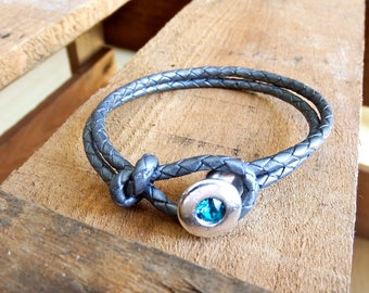 leather bracelet with Swarovski crystal, grey braided leather bracelet with silver clasp