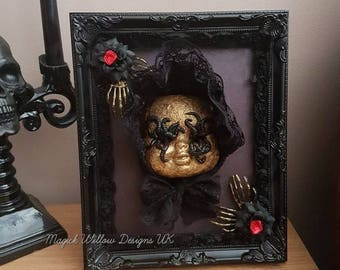 Gothic Macabre Creepy Doll Head Mixed Media In Ornate Frame OOAK