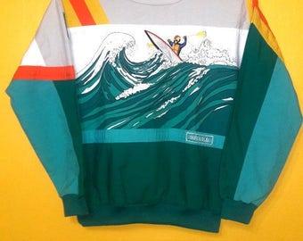 rare vintage 80's Adidas pullover jumper DEVILS TOENAIL AMULZA river embroided Small size
