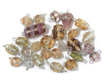 Pink glass beads with silver wire, from 12 to 25 mm RAY-3314100258