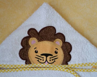 Baby bathrobe. Kids hooded bath towel. Towel Lion. Hooded towel. Children babies. Lion customizable accessory gift