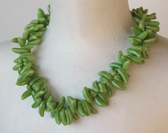 Necklace in grass green Bohemian glass