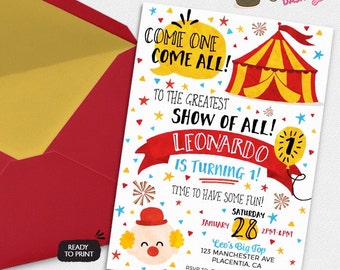 Watercolors Circus Carnival Birthday Party invitations DIY Circus printable invite big top circus party