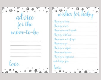 Advice for the Mom-To-Be, Wishes for Baby - Blue Baby Shower Games, Silver Star, Baby Shower Advice Cards, Star Baby Shower, BBSG5