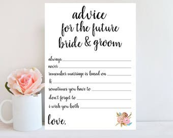 Black and White Bridal Shower Printable Games, Advice for Bride and Groom, Floral Sign, Wedding Shower Advice Card, Instant Download BRSG2