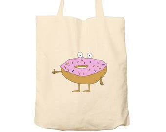 Tote Bag Donut, Cotton Tote, Bag For Life, Illustrated Tote, Shopping Bag