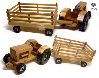 Tractor with trailer - wood toy