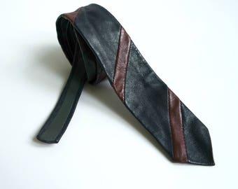 Vintage Dark Blue Leather Skinny Tie, Striped Leather Nectie, 1980s