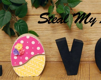 "Egg: DIY Unfinished Spring and Easter Letter Decoration ""O"" Insert ONLY - Craft for ""H M E"", ""L V E"" or ""WELCME"" Interchangeable Letter Set"