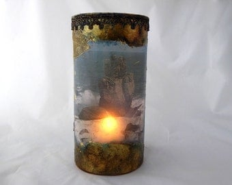 Decorative Glass Lantern, Handcrafted Candle Holder, Colorful Lantern, Sea Lantern, Glass Candle Holder, Unique Gift, Photo Candle holder