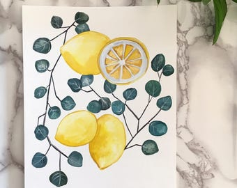 Lemon and Eucalyptus // ORIGINAL Gouache painting 8 x 10 inch